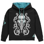 ASSASSIN'S CREED Valhalla Tribal Face Hoodie with Teddy Hood, Female, Medium, Black/Turquoise (HD838613ASC-M)