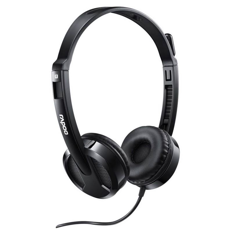 RAPOO H100 Wired Stereo Headsets - HD Voice Rotary Microphone Volume Adjustment 3.5mm (LS)