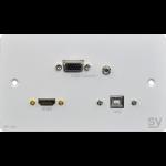 SY Electronics SY-WP-HVU-BW socket-outlet VGA + HDMI + 3.5mm + USB Type B White