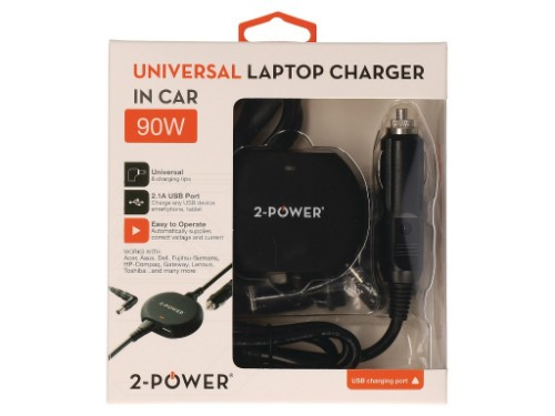 2-Power Universal 90W Laptop In-Car Charger
