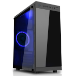 CIT Voyager Black Tempered Glass Case 1 x 12cm Blue LED Fan at Rear