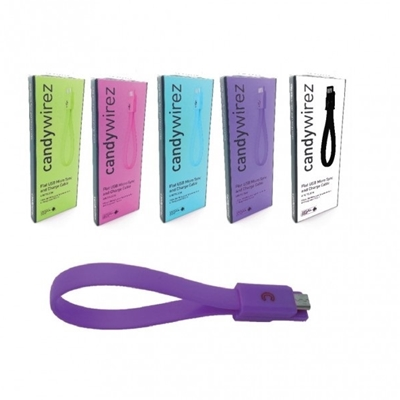 """CANDYWIREZ USB 2.0 A (M) to USB 2.0 Micro B (M) 0.15m / 6"""" Purple Retail Packaged Magnetic Silicon T"""