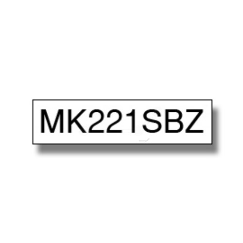 Brother MK-221SBZ P-Touch Ribbon, 9mm x 4m