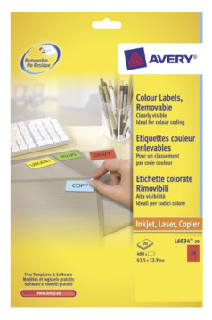 Avery L6034-20 self-adhesive label Red 24 pc(s)