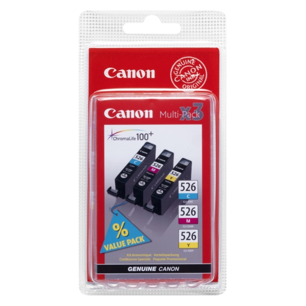 Canon 4541B006 (CLI-526) Ink cartridge multi pack, 462/437/450 Seiten, 9ml, Pack qty 3