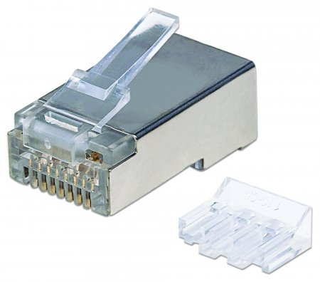 INTELLINET RJ45 MODULAR PLUGS PRO LINE, CAT6A, STP, 3-PRONG, FOR SOLID & STRANDED WIRE, 50  GOLD-PLATED CONTACTS, 70 PACK