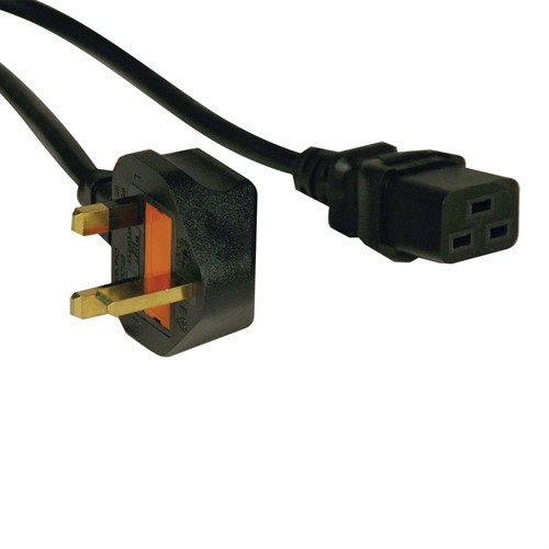 Tripp Lite Standard UK Power Cord Lead Cable, 13A (IEC-320-C19 to BS-1363 UK Plug), 2.43 m