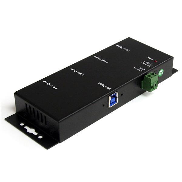 StarTech.com Concentrador Industrial USB 3.0 SuperSpeed de 4 Puertos - Hub de Montaje