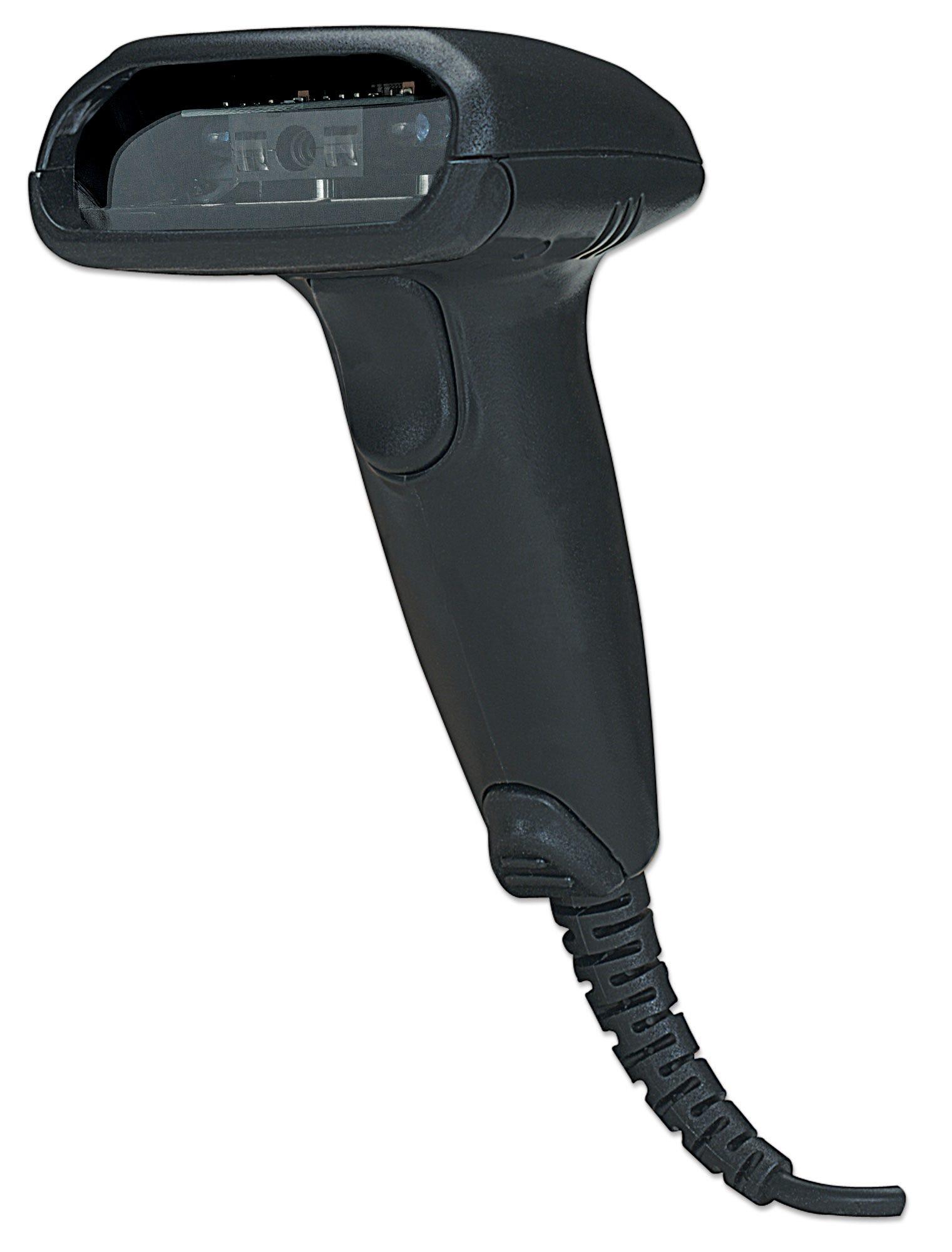 Manhattan Long Range CCD Handheld Barcode Scanner, USB, 500mm Scan Depth, Cable 1.5m, Max Ambient Light 10,000 lux (sunlight), Black, Box