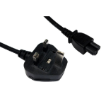 Cables Direct UK Mains 1.8m C5 coupler BS 1363 Black power cable