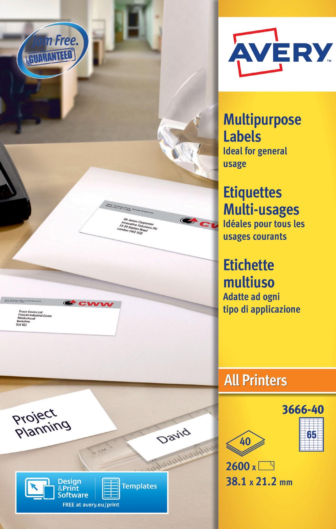 Avery Multipurpose Labels 38x21.2mm 3666-40 65 p/sht PK2600