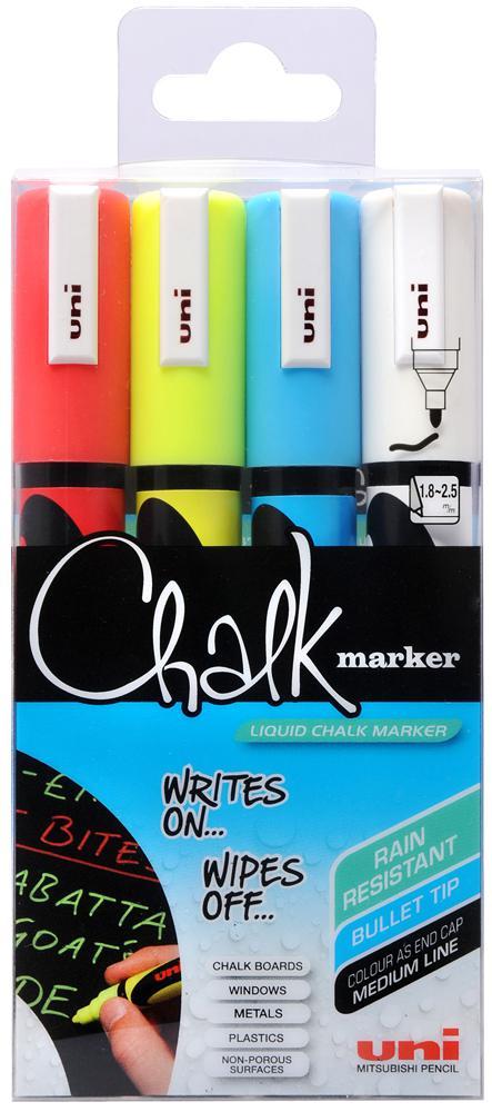 Uni-Ball Uni-Ball PWE 5M Chalk Marker Med Bullet Tip Assorted PK4