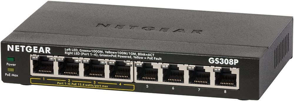 Netgear GS308P No administrado Gigabit Ethernet (10/100/1000) Negro Energía sobre Ethernet (PoE)
