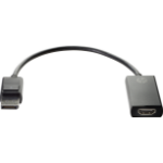 HP 2JA63AA video cable adapter DisplayPort HDMI Typ A (Standard) Schwarz