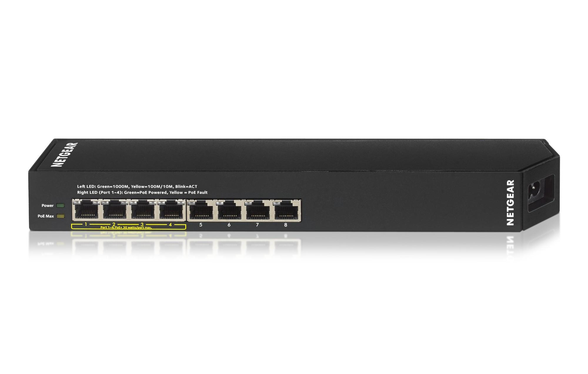 Netgear GSS108EPP Managed L2 Gigabit Ethernet (10/100/1000) Power over Ethernet (PoE) Black