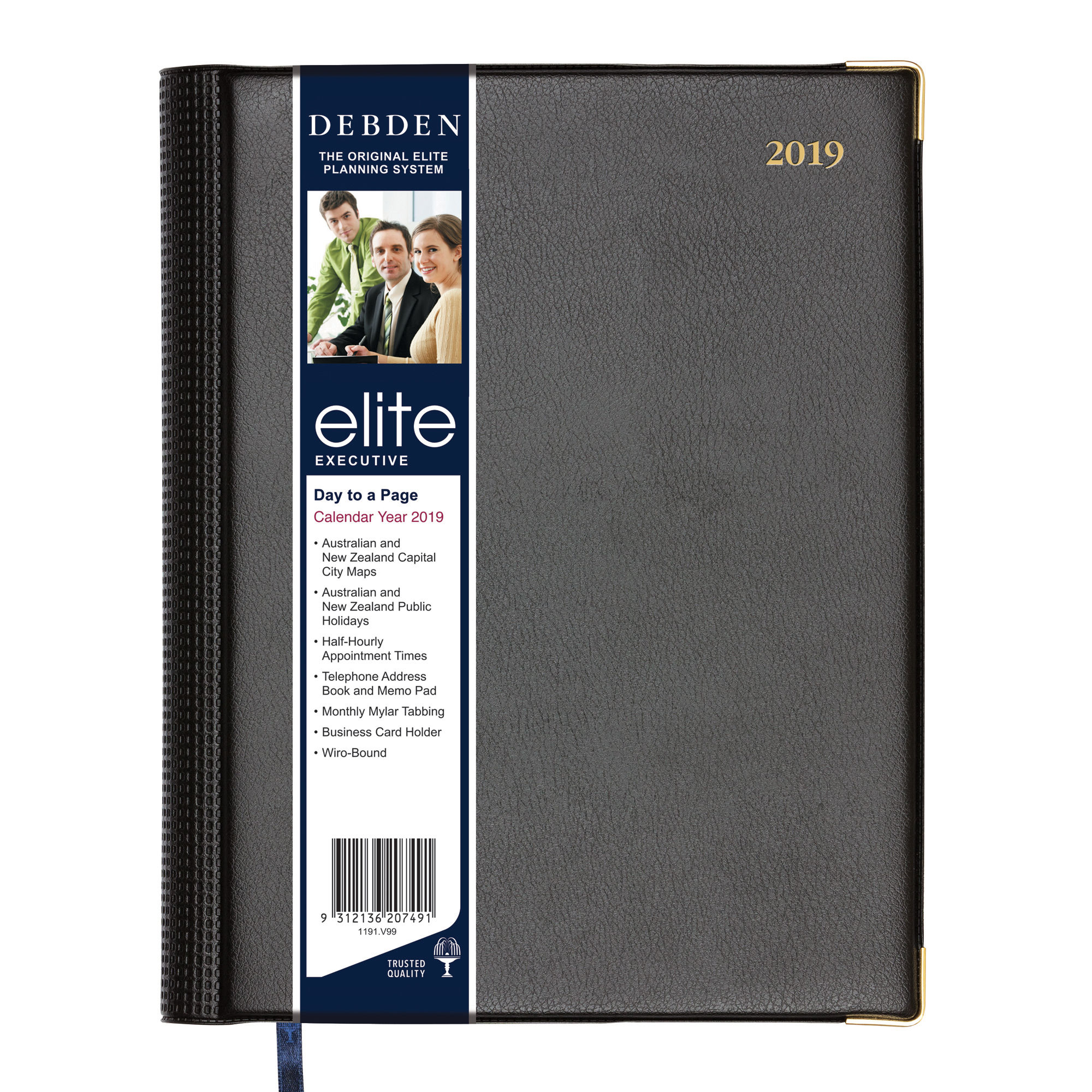 ELITE DIARY 2019 ELITE MANAGER 260X190MM DTP BLACK ( EACH )