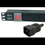 Dynamode PDU-12WS-V-UK-IEC20 power distribution unit (PDU) 12 AC outlet(s) 1U Black