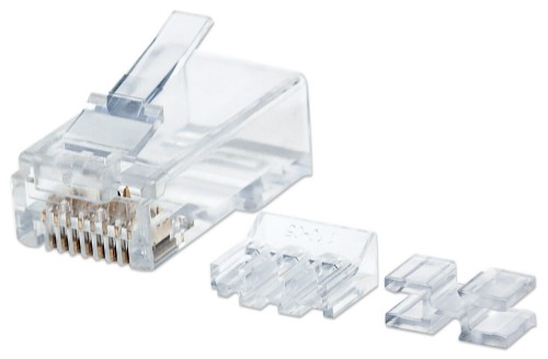 Intellinet RJ45 Modular Plugs, Cat6A, UTP, 3-prong, for solid wire, 15 µ gold plated contacts, 80 pack