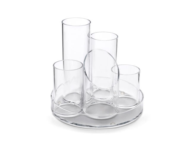 Osco Clear Acrylic 5 Tube Pen Pot