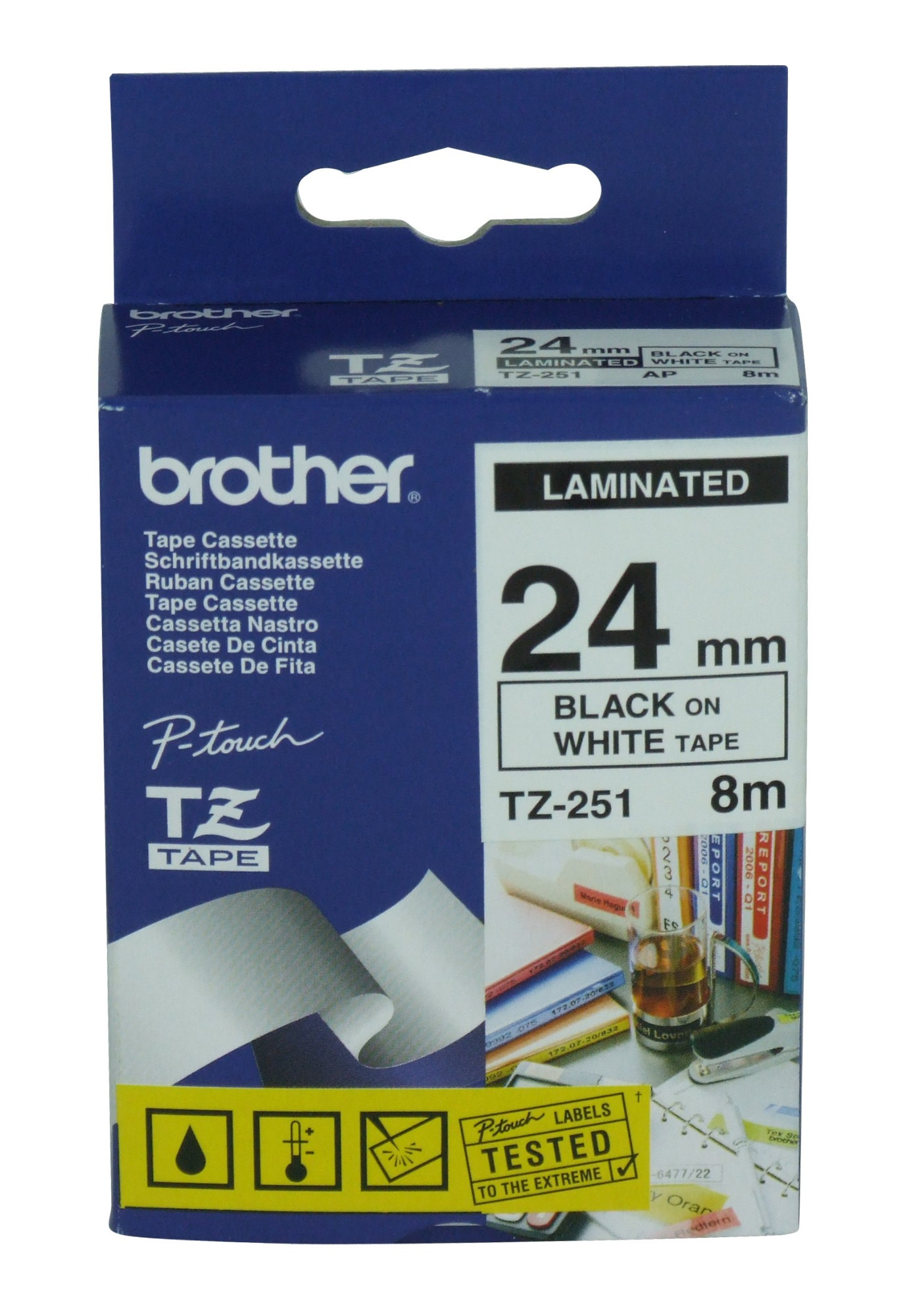 Tape 24mm Lami Black On White (tz251)