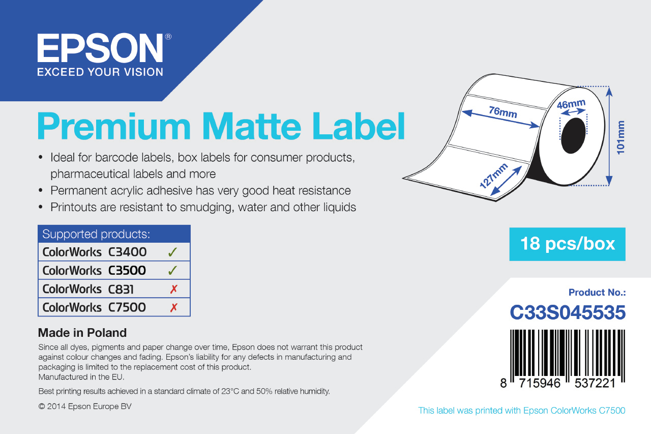 Epson Premium Matte Label - Die-cut Roll: 76mm x 127mm, 265 labels