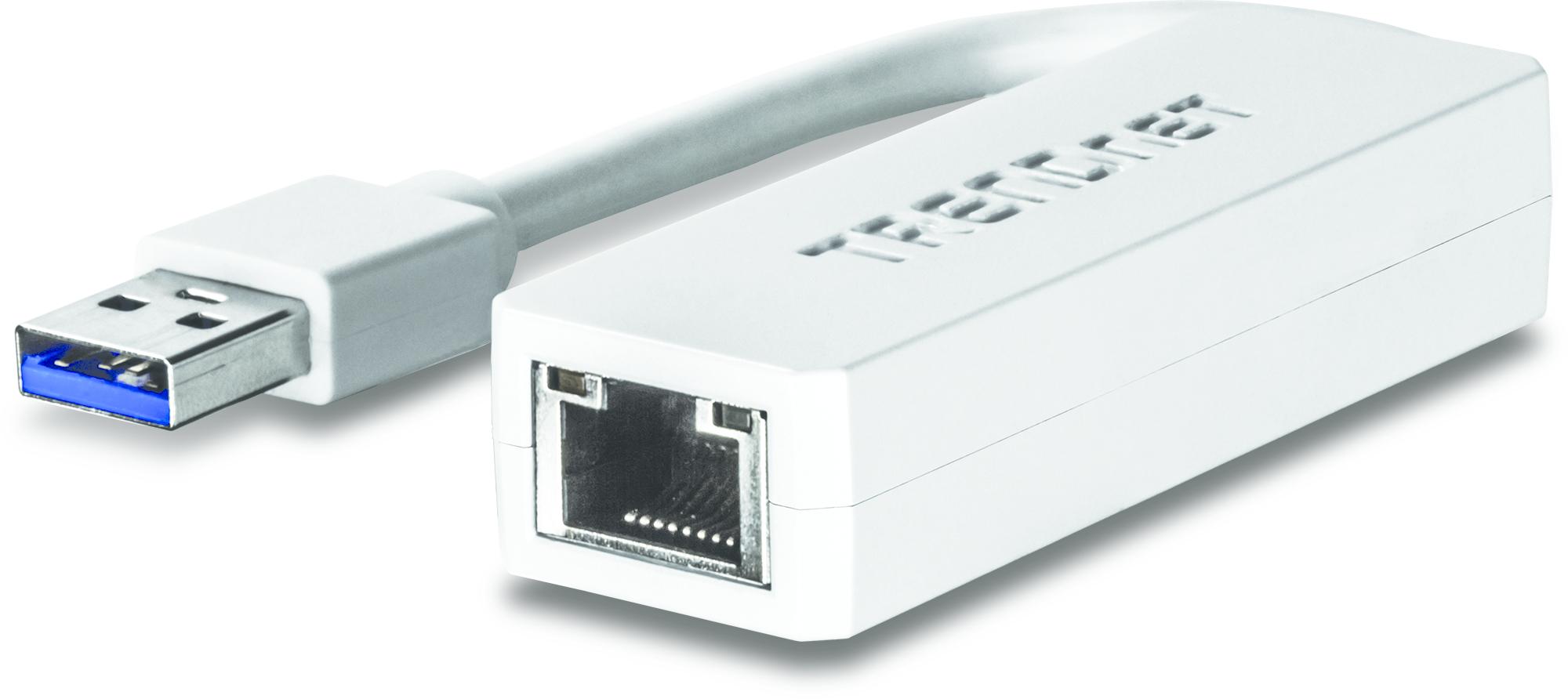 Trendnet TU3-ETG cable gender changer USB 3.0 RJ-45 White
