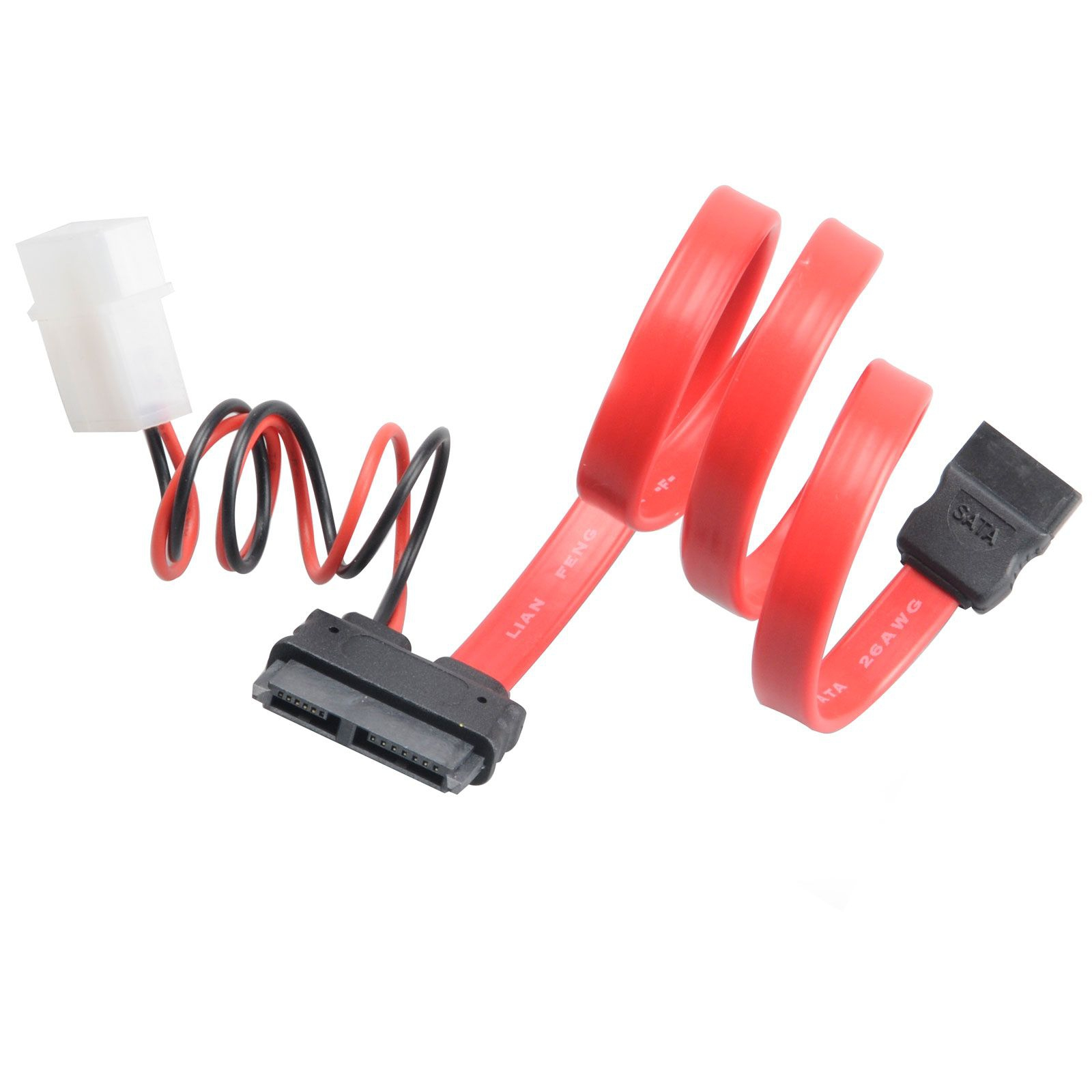 Akasa 40cm SATA cable f/ slimline opticals 4-pin Molex 7-pin SATA, 6-pin SATA Black,Red cable interface/gender adapter