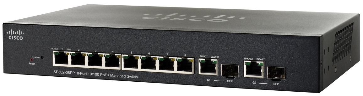 Cisco Small Business SF302-08PP Managed network switch L3 Fast Ethernet (10/100) Power over Ethernet (PoE) Black