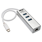 Tripp Lite Portable USB 3.1 Gen 1 Gigabit Ethernet Adapter with 3-Port Hub, Aluminum