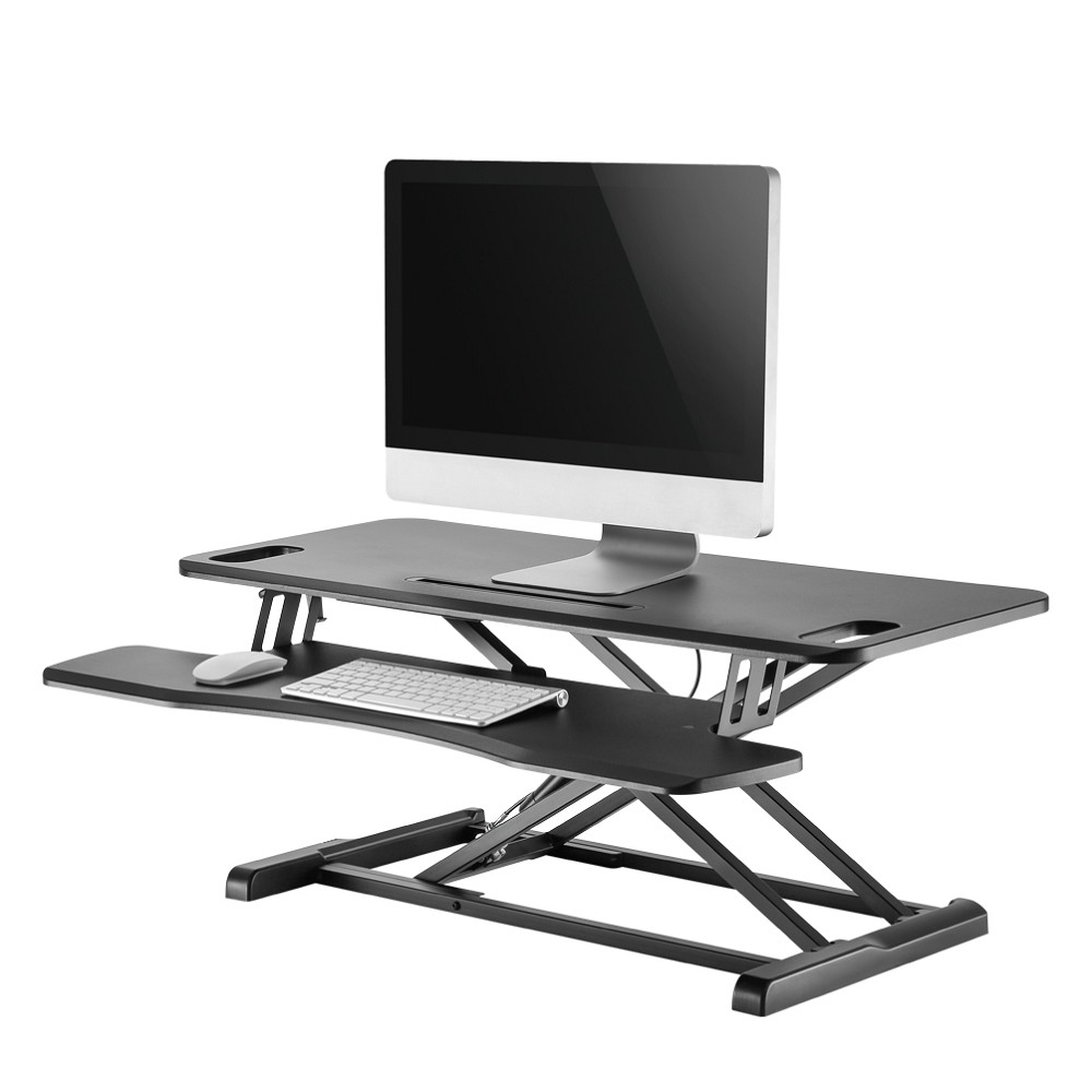 SIT STAND DESKTOP WORKSTATION BLACK. 17KG MAX HT ADJUSTABLE