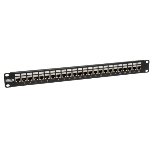 Tripp Lite 24-Port 1U Rack-Mount STP Shielded Cat6 /Cat5 Feedthrough Patch Panel, RJ45 Ethernet