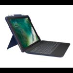 Logitech Slim Combo mobile device keyboard Blue QWERTZ German Smart Connector