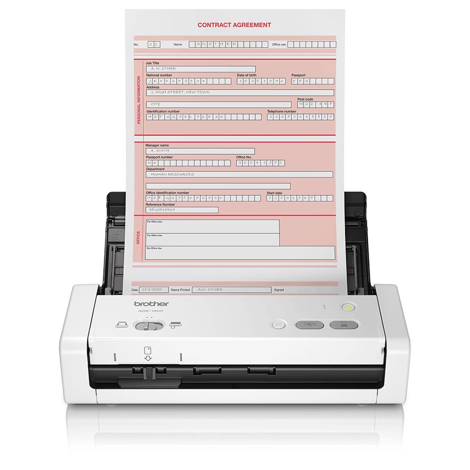 Brother ADS-1200 escaner 600 x 600 DPI Escáner con alimentador automático de documentos (ADF) Negro, Blanco A4