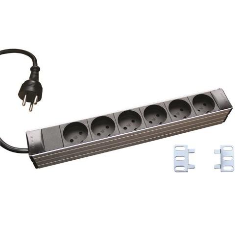 Retex Aluminium PDU 6-Way K Outlet. Without LED