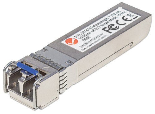 Intellinet 10 Gigabit Fibre SFP+ Optical Transceiver Module, 10GBase-LR (LC) Single-Mode Port, 10km, Fiber, Equivalent to Cisco SFP+10GB-LR, Three Year Warranty