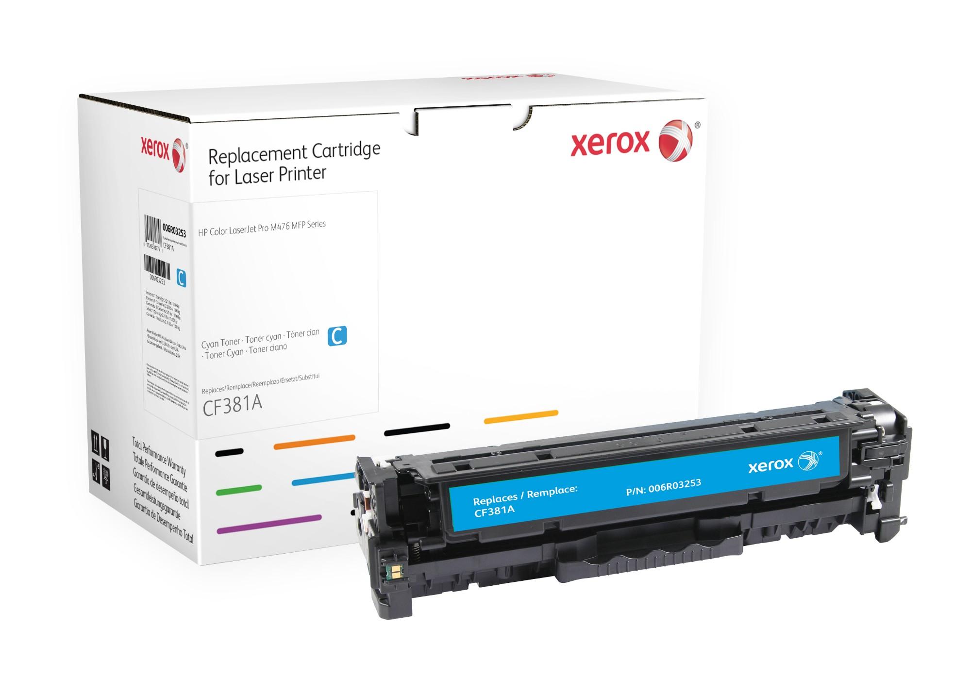 Xerox Cartucho de tóner cian. Equivalente a HP CF381A. Compatible con HP Colour LaserJet M476/M476DN/M476DW/M476NW