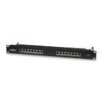 Intellinet Patch Panel, Cat6, FTP, 16-Port, 1U, Shielded, 90° Top-Entry Punch-Down Blocks, Black