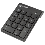 Manhattan Numeric Keypad, Wireless, USB, Windows or Mac, 18 full size keys, Black