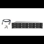 "QNAP TL-R1220SEP-RP 120TB (Seagate Exos) 12-bay 2U rackmount SAS 12Gbps JBOD expansion enclosure with SAS expander; 2.5:/3.5 SAS 12Gbps & SAS/SATA 6Gbps drives; 4 x SFF-8644 Mini-SAS HD ports; redundant PSU HDD/SSD enclosure Black, Grey 2.5/3.5"""