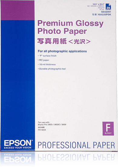 Epson Premium Glossy Photo Paper, DIN A2, 255 g/m², 25 hojas