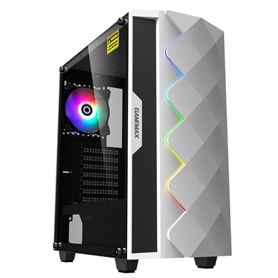 GAMEMAX White Diamond Mid Tower 1 x USB 3.0 / 1 x USB 2.0 Tempered Glass Side Window Panel White Cas