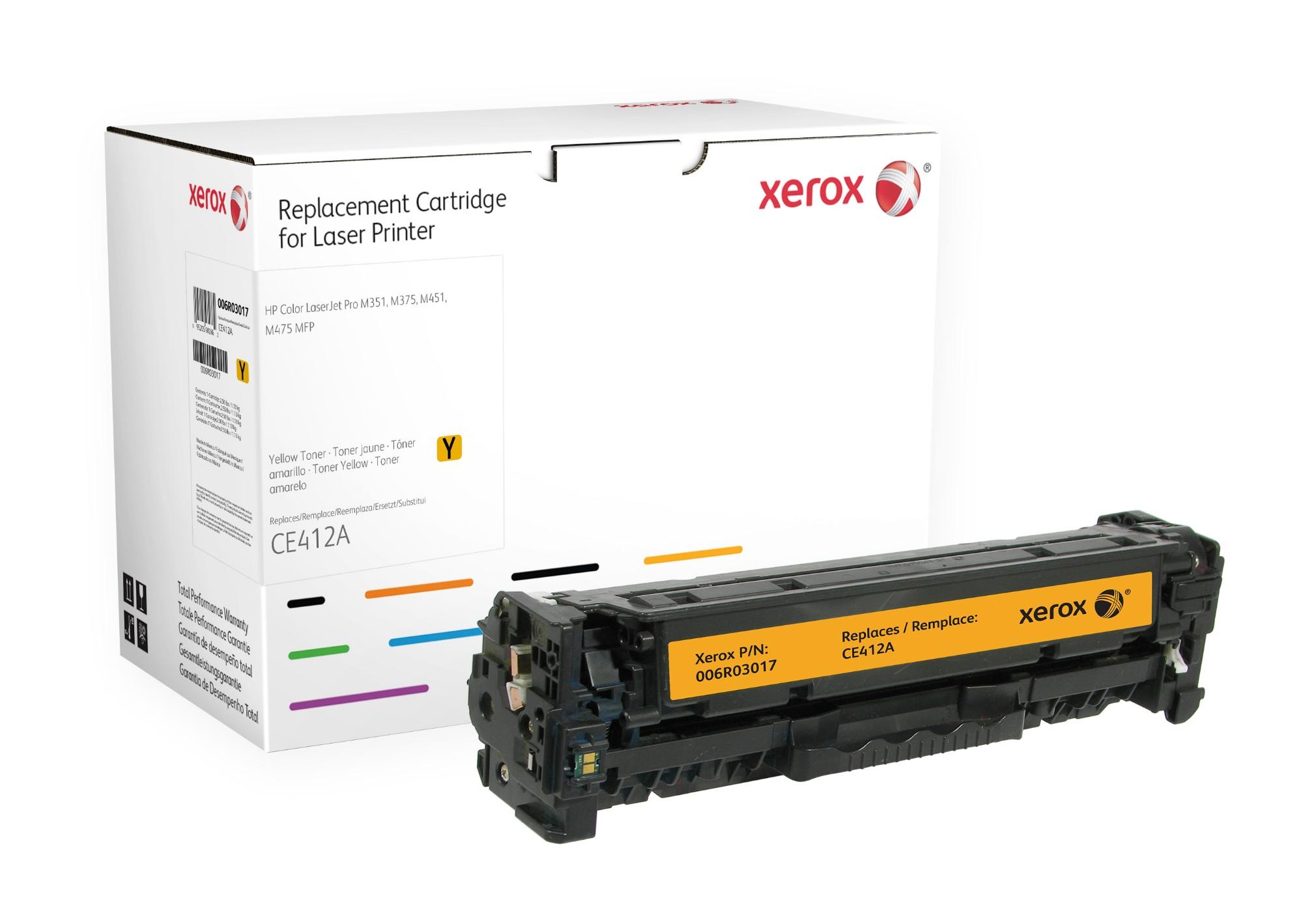 Xerox Cartucho de tóner amarillo. Equivalente a HP CE412A. Compatible con HP Colour LaserJet M351A, Colour LaserJet M375MFP, Colour LaserJet M451, Colour LaserJet M475 MFP