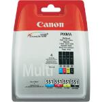 Canon CLI-551 C/M/Y/BK w/sec Original Negro, Cian, magenta, Amarillo Multipack 4 pieza(s)