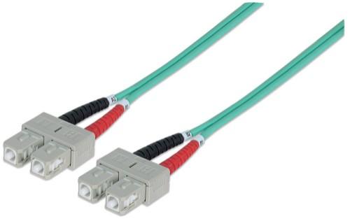 Intellinet Fibre Optic Patch Cable, Duplex, Multimode, SC/SC, 50/125 µm, OM3, 10m, LSZH, Aqua
