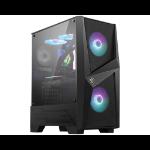 MSI MAG FORGE 100R Mid Tower Gaming Computer Case 'Black, 2x 120mm ARGB PWM Fan, 1x 120mm Fan, 1-6 ARGB Hub, Mystic Light Sync, Tempered Glass Panel, ATX, mATX, mini-ITX'