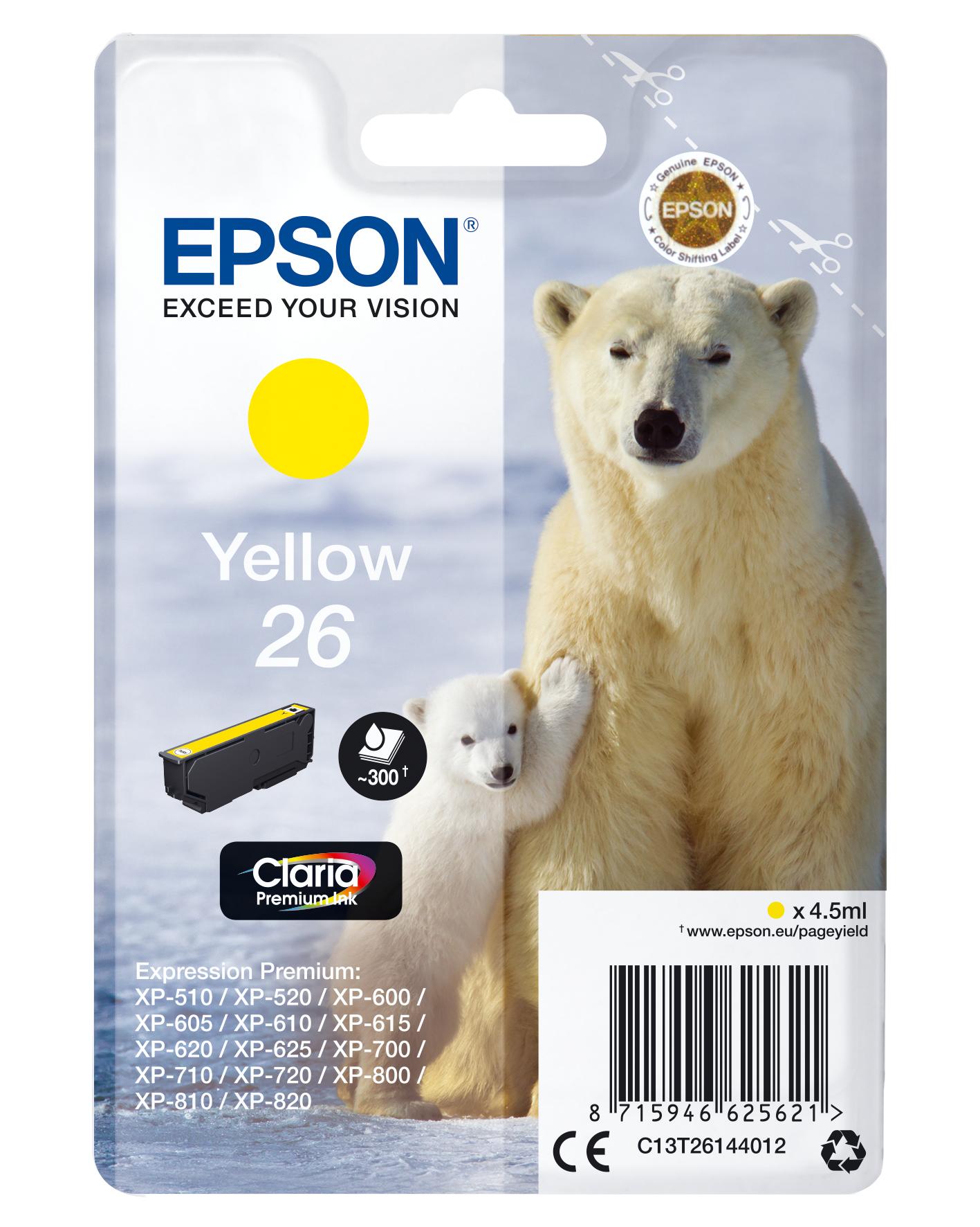 Epson Polar bear C13T26144012 Tintenpatrone Original Gelb 1 Stück(e)