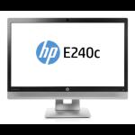 "HP EliteDisplay E240c 23.8"" Full HD LED Matt Black, Silver computer monitor"