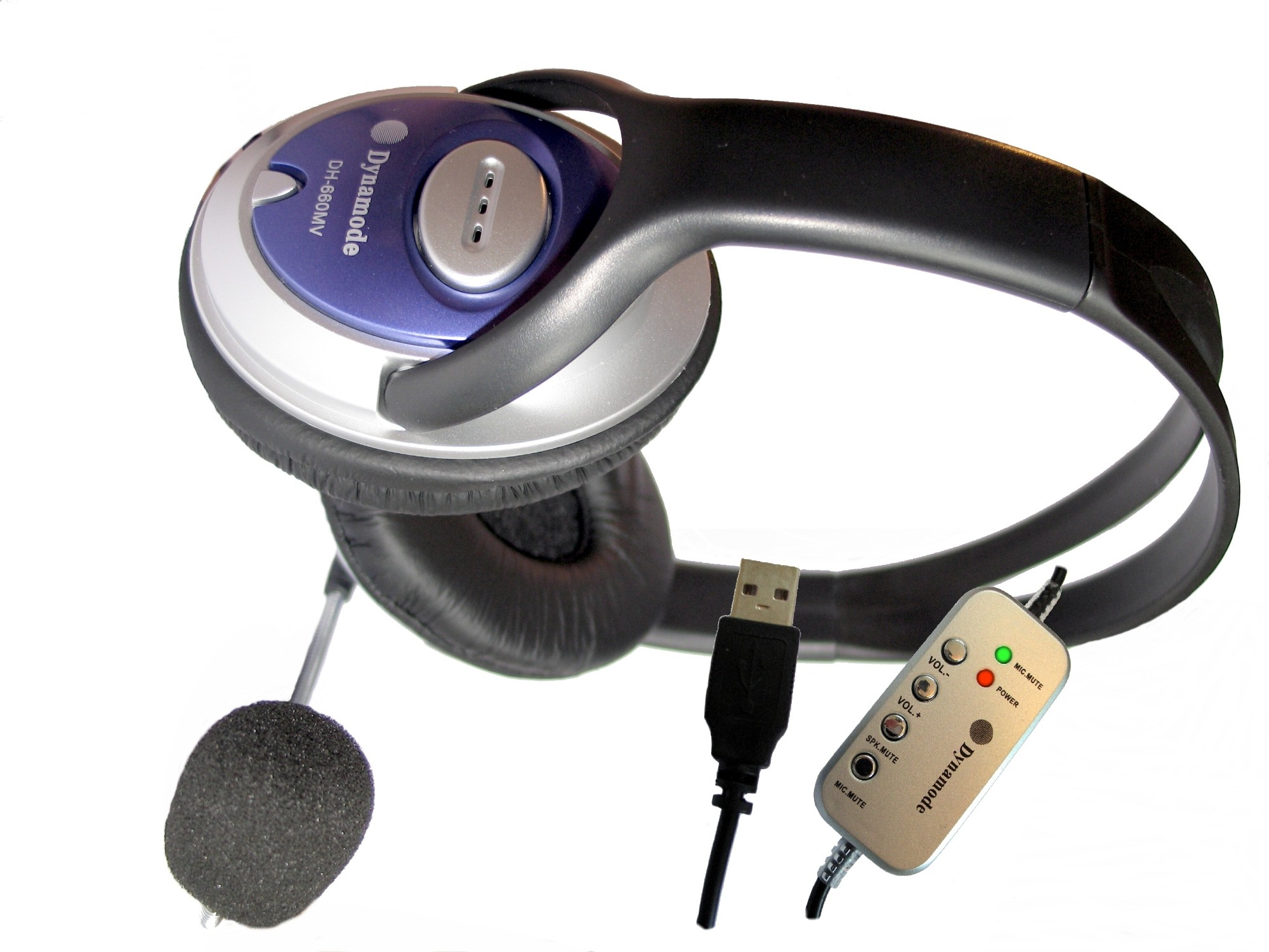 Dynamode Skype Stereo ClearSound headphone with Mic. Binaural headset