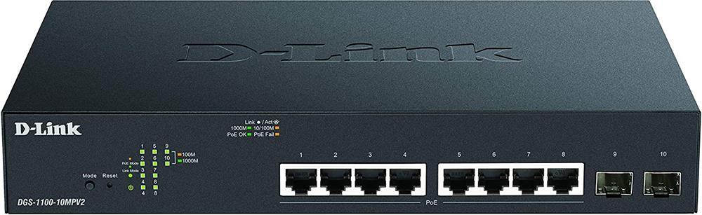 D-Link DGS-1100-10MPV2 switch Gestionado Gigabit Ethernet (10/100/1000) Negro 1U Energía sobre Ethernet (PoE)