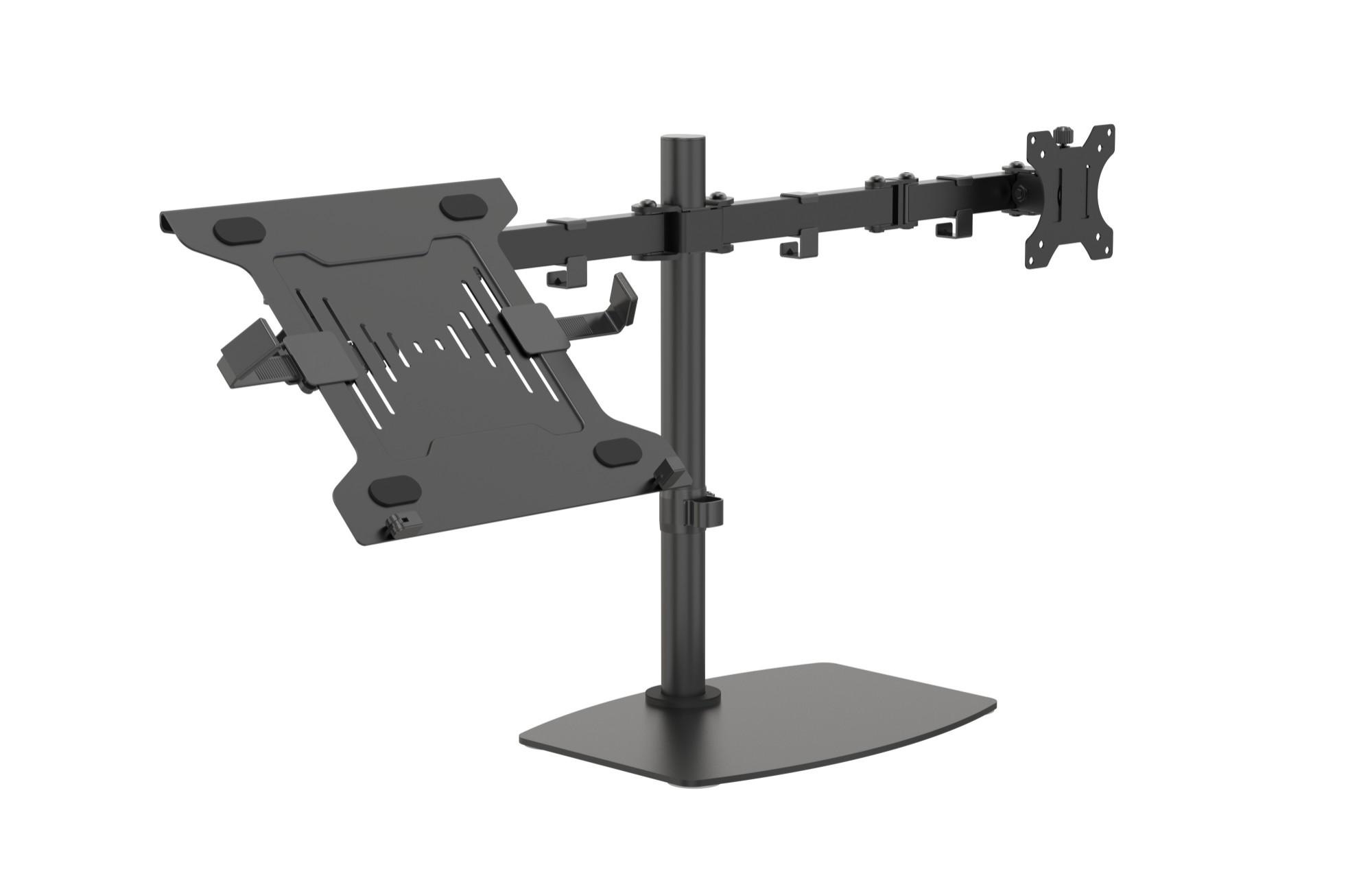 """Vision VFM-DSDB+S soporte para ordenador portátil Soporte de mesa con estante para ordenador portátil y brazo para monitor Negro 41,9 cm (16.5"""")"""